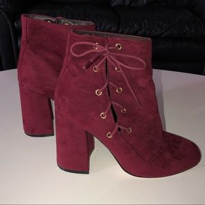 EUC ASOS Maroon Lace Up Ankle Boots